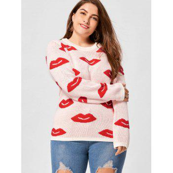 Plus Size Lip Print Sweater - WHITE WHITE