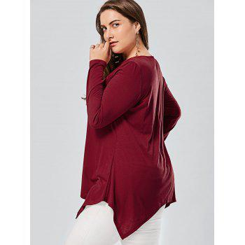 Plus Size Front Knot Cut Out Long Sleeve T-shirt - RED XL
