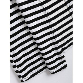 Two Tone Striped Panel Long Cardigan - BLACK BLACK