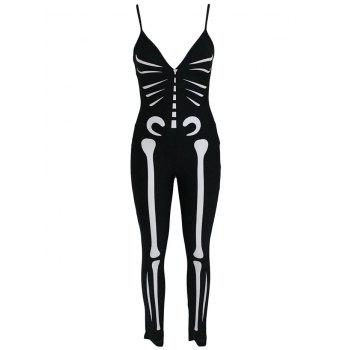 Skeleton Print Halloween Cosplay Cami Jumpsuit - BLACK BLACK