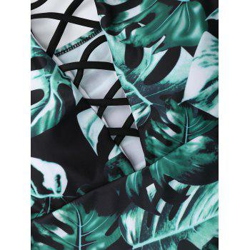 Leaf Print Lace Up Swimsuit - GREEN M