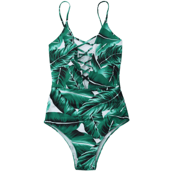 Lace Up Criss Cross Leaf Print Swimsuit - GREEN S