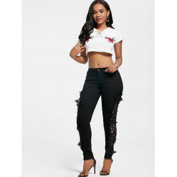 Lace Insert Hollow Out Jeans - BLACK XL