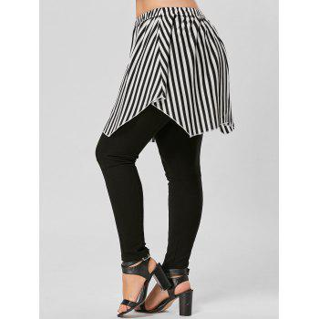 Striped Plus Size Asymmetrical Skirt - BLACK STRIPE XL