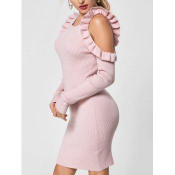 Ruffle Trim Cold Shoulder Jumper Dress - LIGHT PINK XL