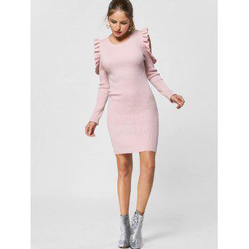Ruffle Trim Cold Shoulder Jumper Dress - LIGHT PINK M