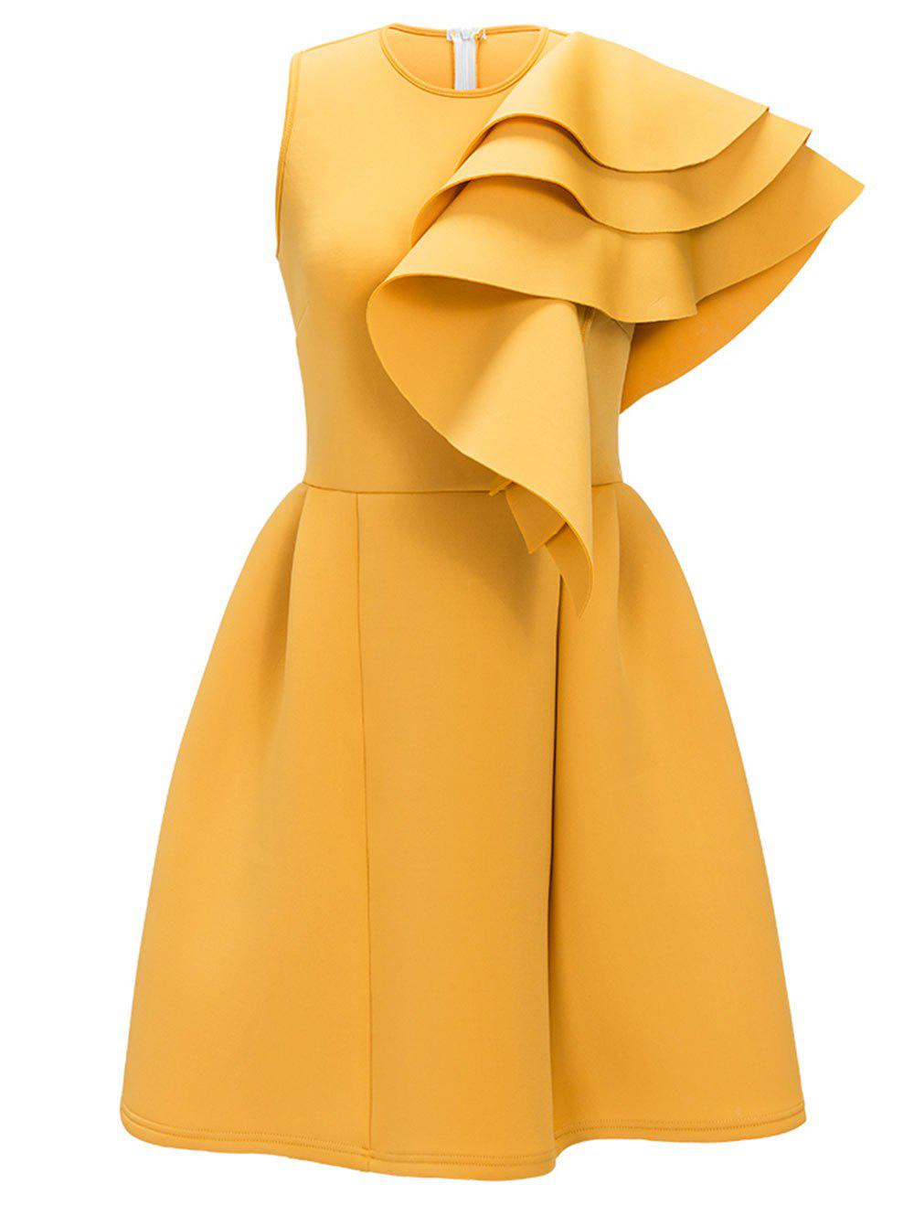 Sleeveless Ruffle Cocktail Dress - YELLOW L