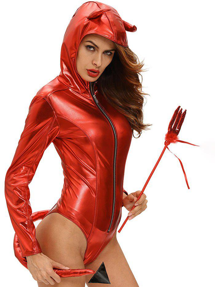 Hooded Glitter Halloween Devil Bodysuit - RED L