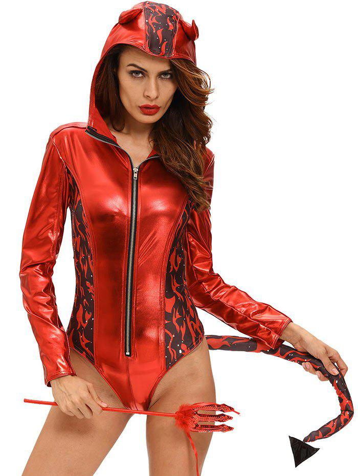 Halloween Devil Cosplay Costume Bodysuit - RED L