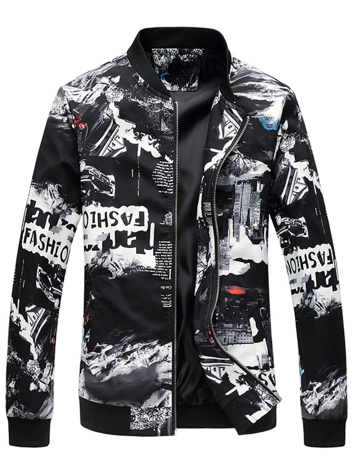 Car Graphic Print Stand Collar Jacket