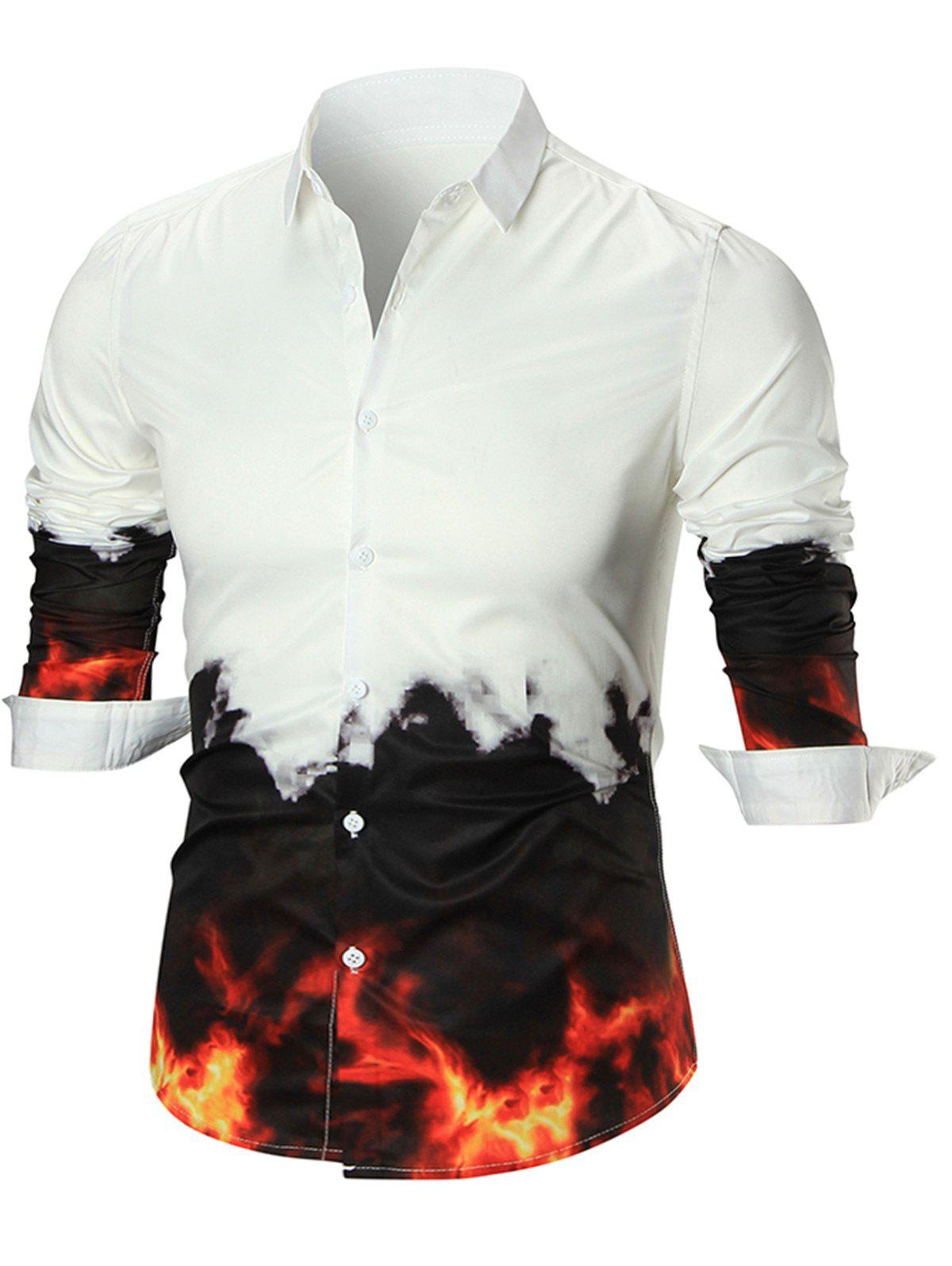 Flame Print Button Up Shirt - WHITE L