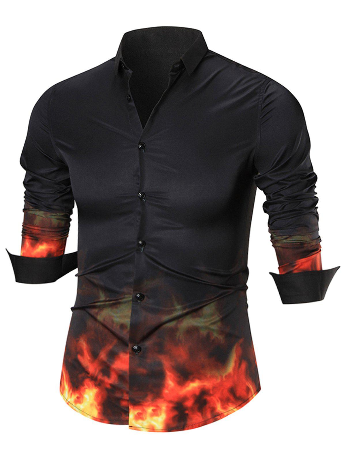 Flame Print Button Up Shirt flame trees of thika