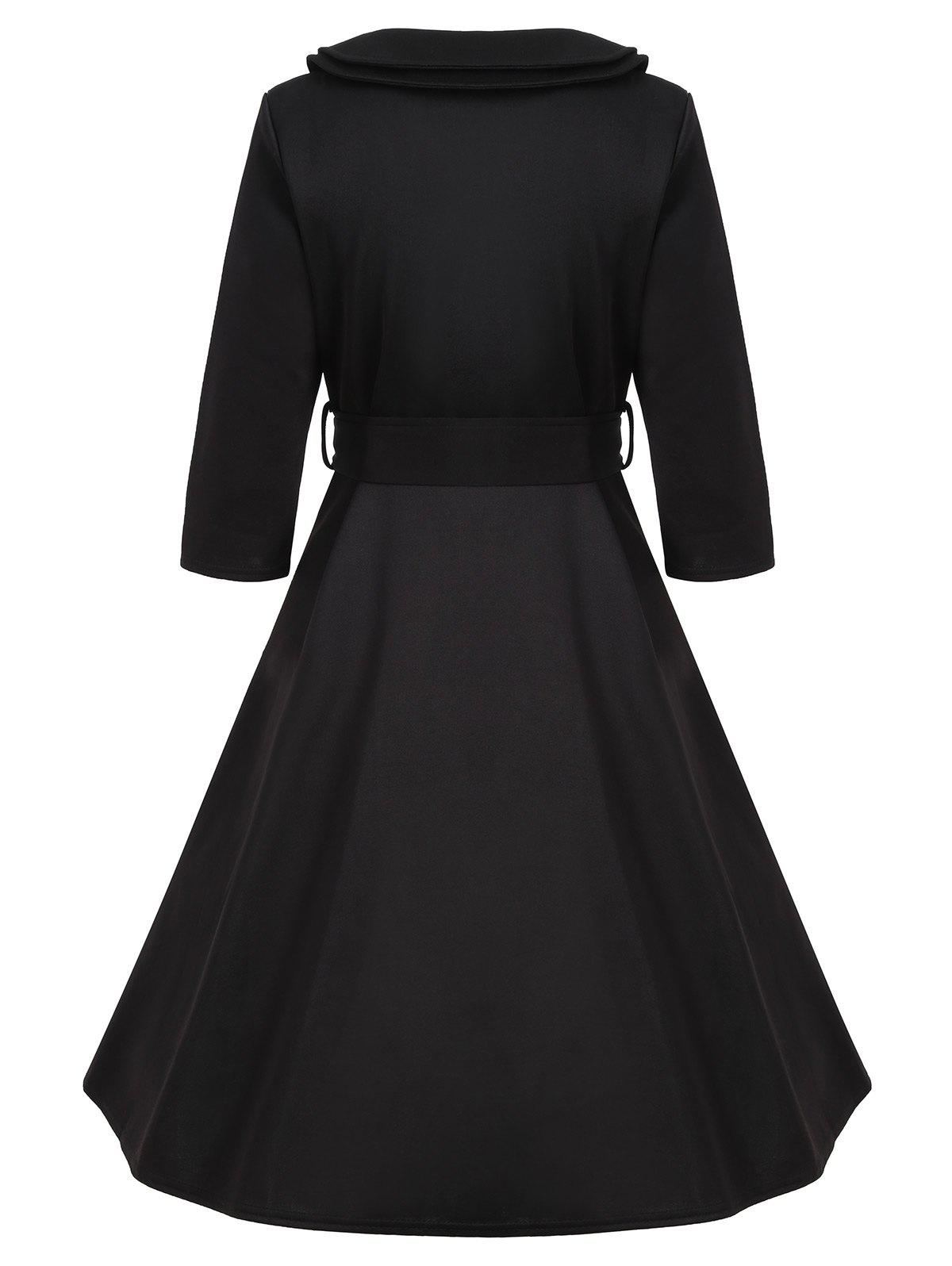 Buttoned A Line Vintage Dress with Belt - BLACK XL