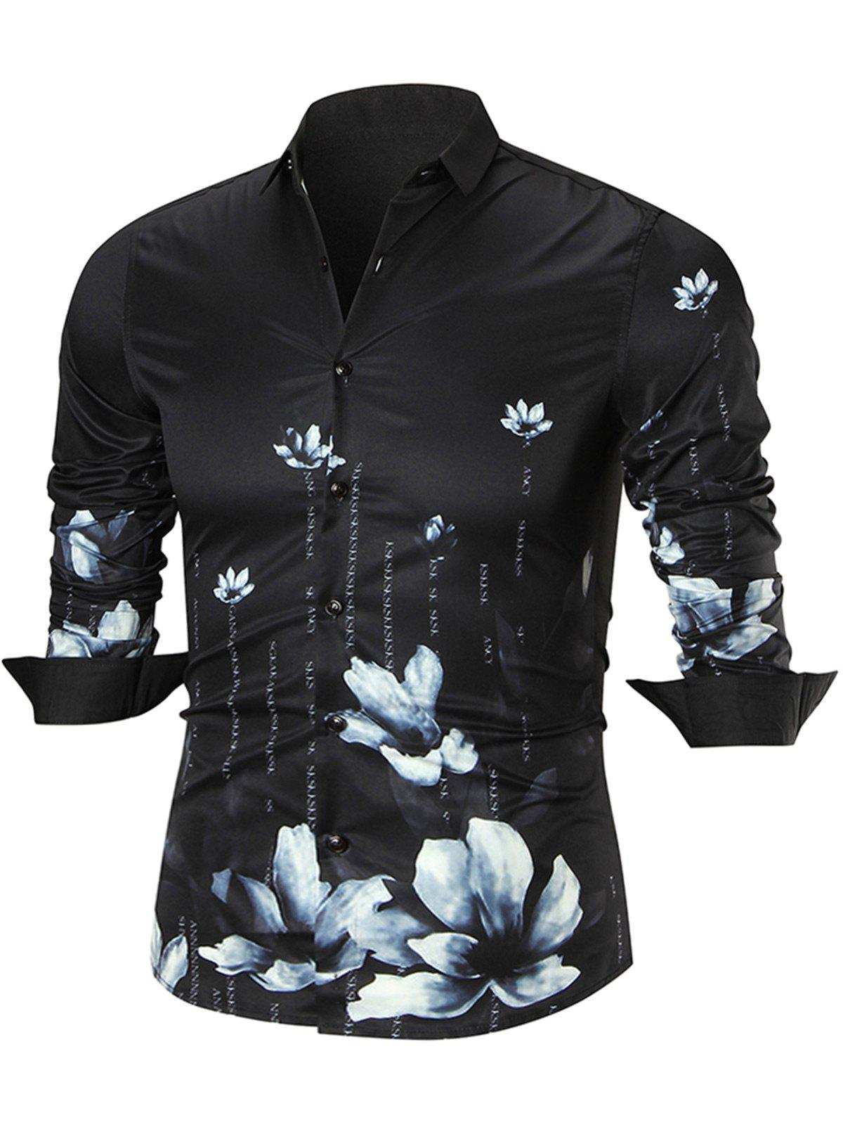 Water Lily Print Long Sleeve Shirt - BLACK 4XL