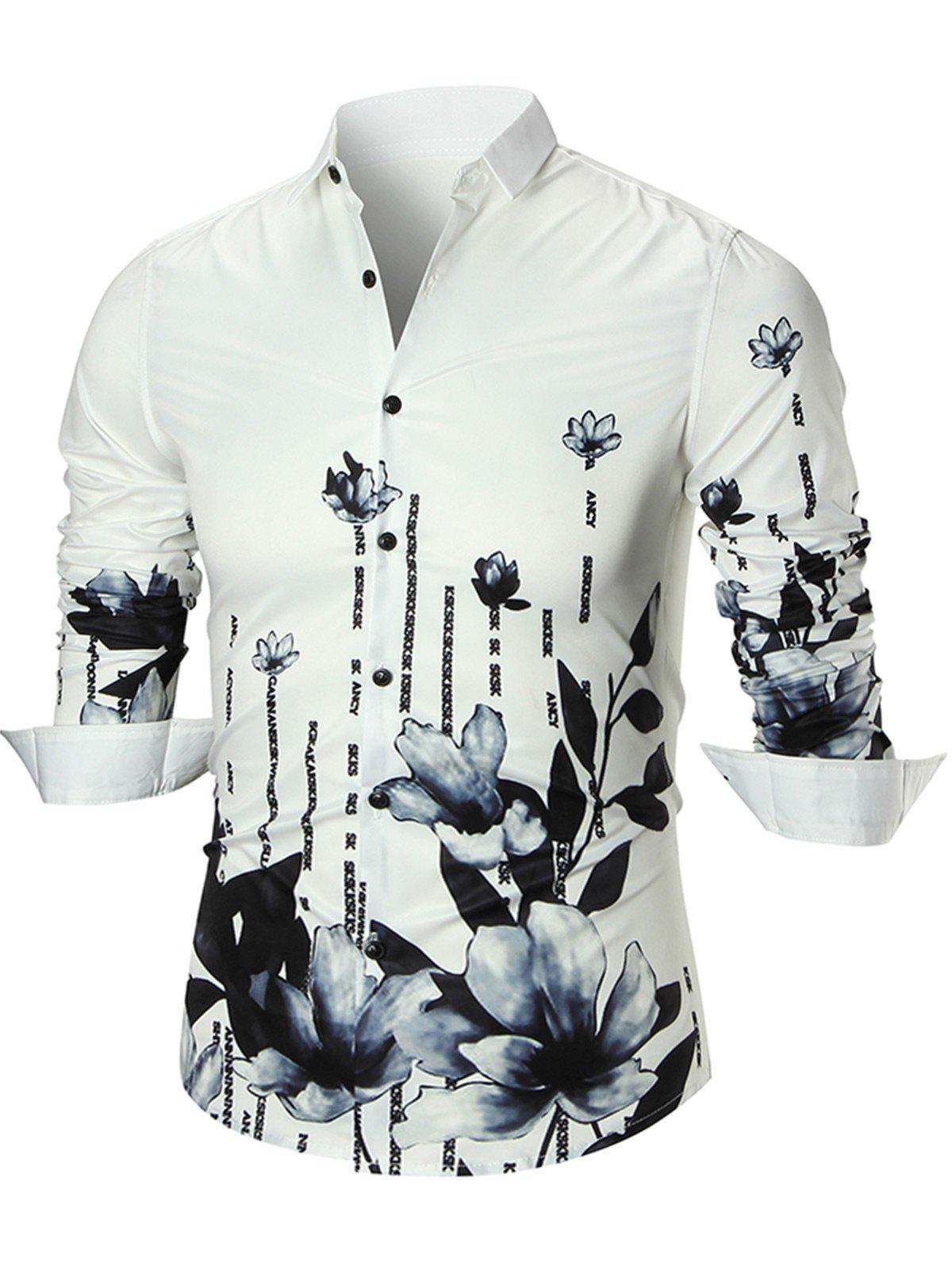 Water Lily Print Long Sleeve Shirt - WHITE 2XL