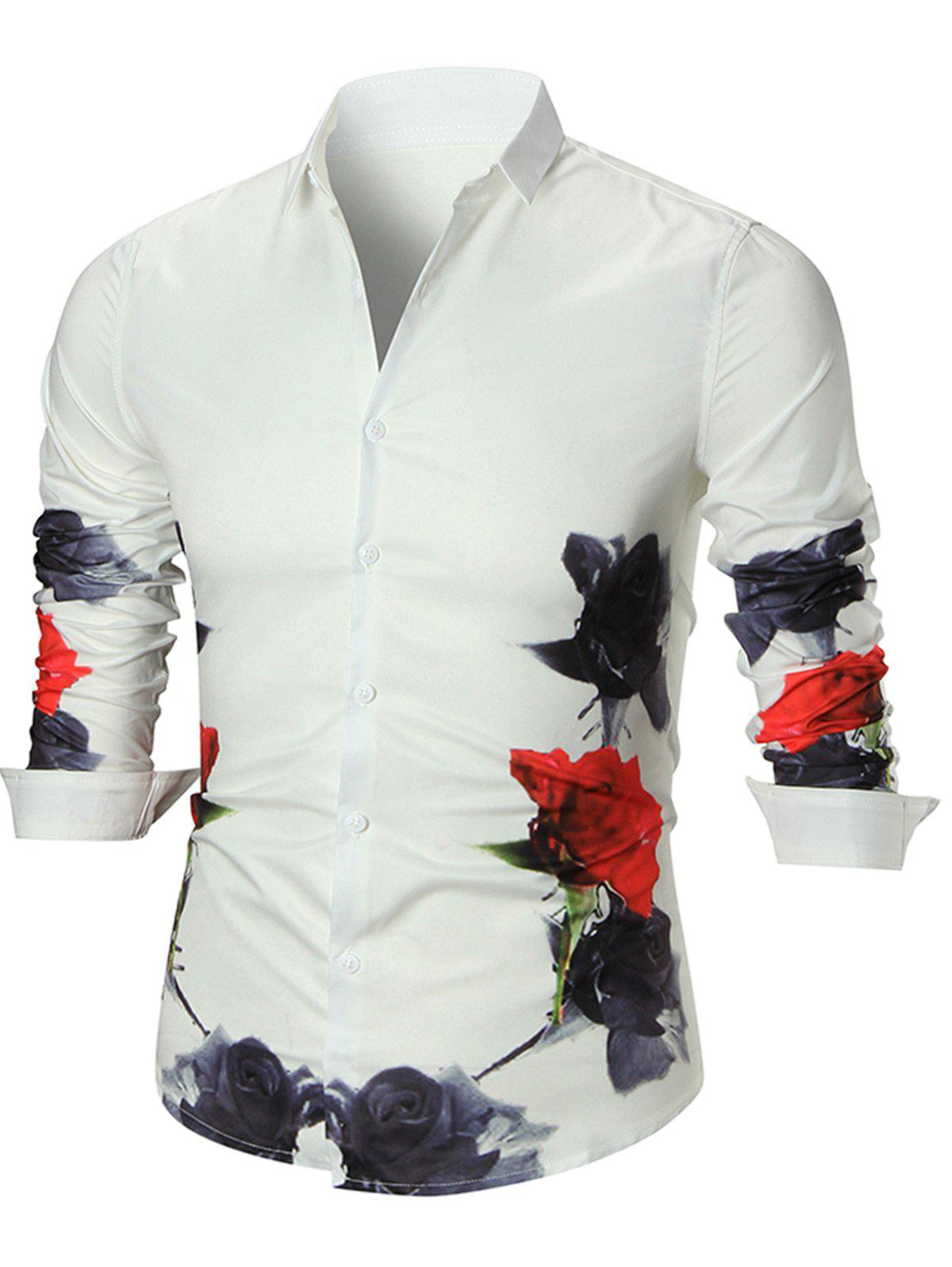 Long Sleeve Flower Print Shirt - WHITE L