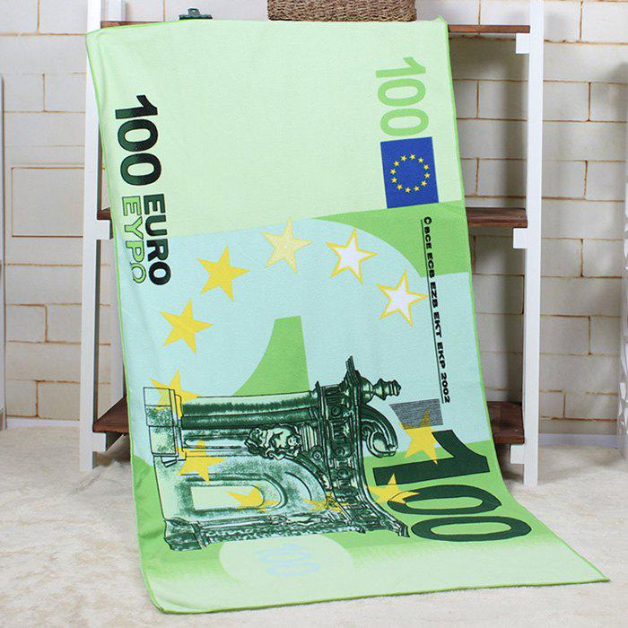 100 Euro Banknote Pattern Bath Towel - GREEN