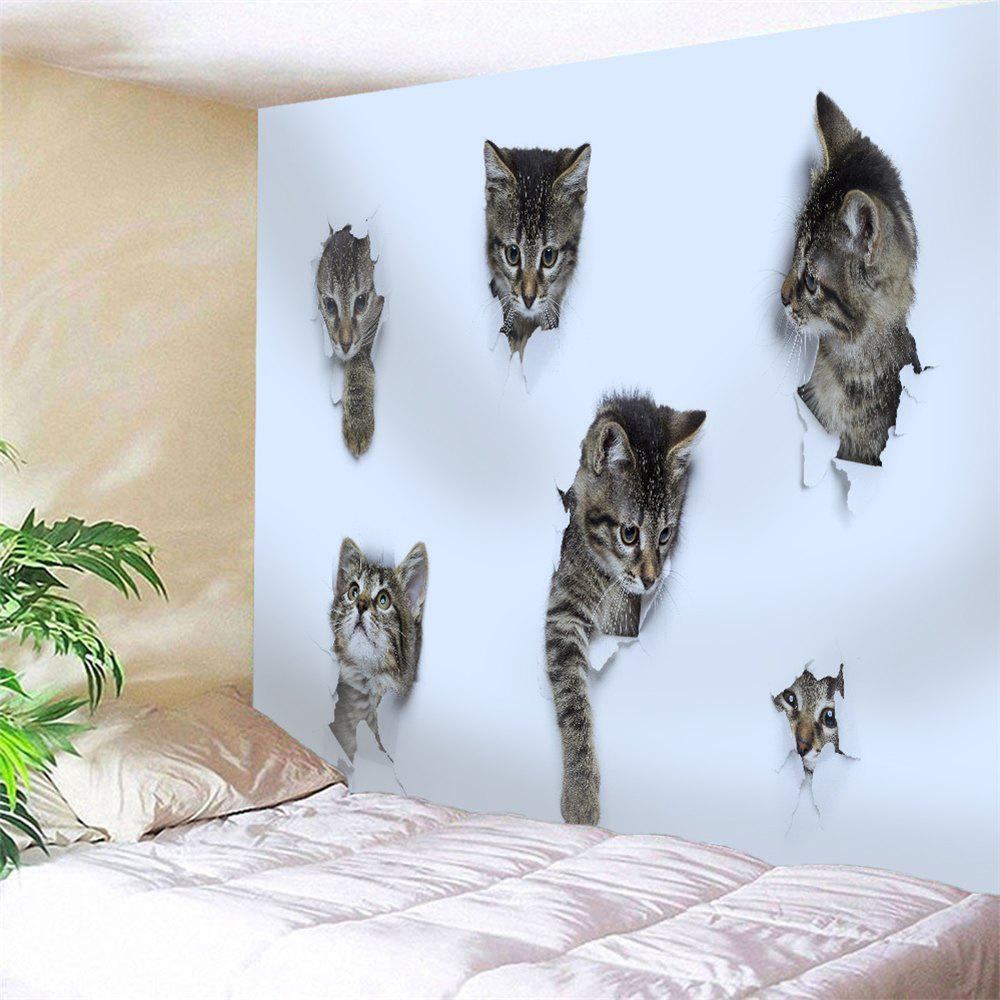 3D Wall Broken Cat Wall Decor Tapestry - WHITE W91 INCH * L71 INCH