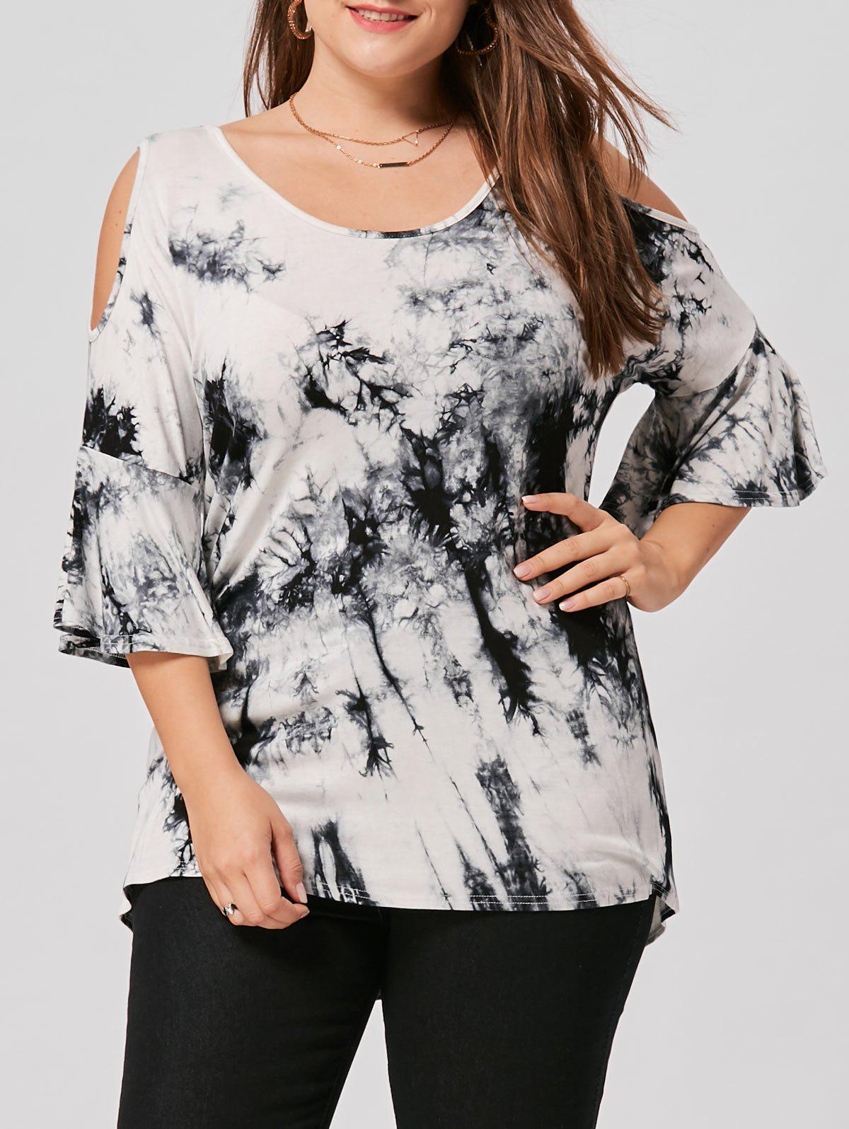 Plus Size Open Shoulder Tie Dye Top - WHITE/BLACK 5XL