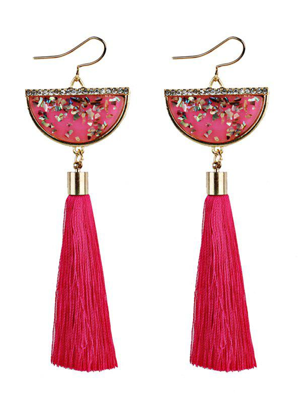 Half Round Tassel Pendant Fish Hook Earrings - TUTTI FRUTTI