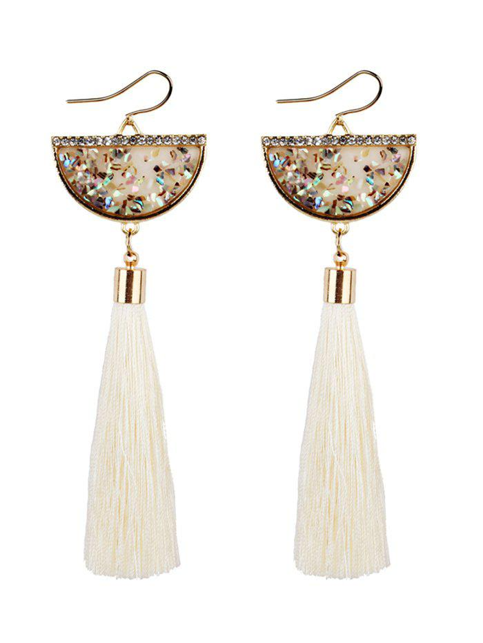 Half Round Tassel Pendant Fish Hook Earrings - WHITE