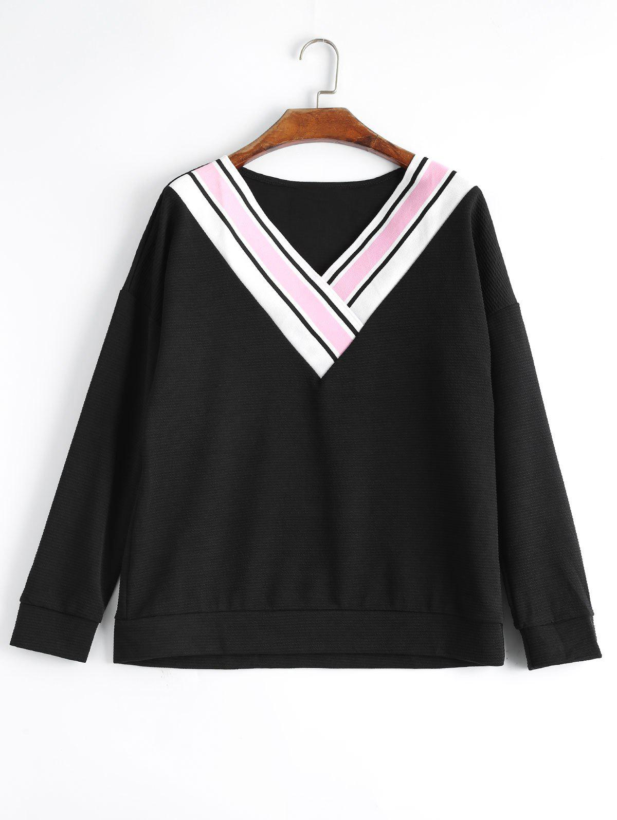 Plus Size Striped Panel V Neck Sweatshirt - BLACK 3XL