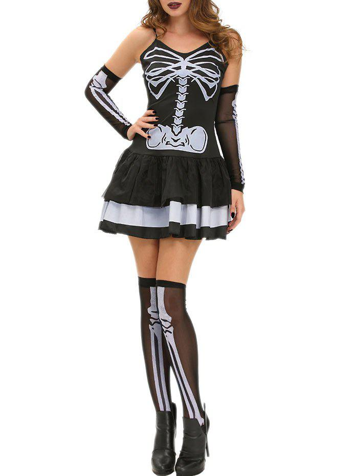 Skeleton Halloween Cami Dress - BLACK ONE SIZE