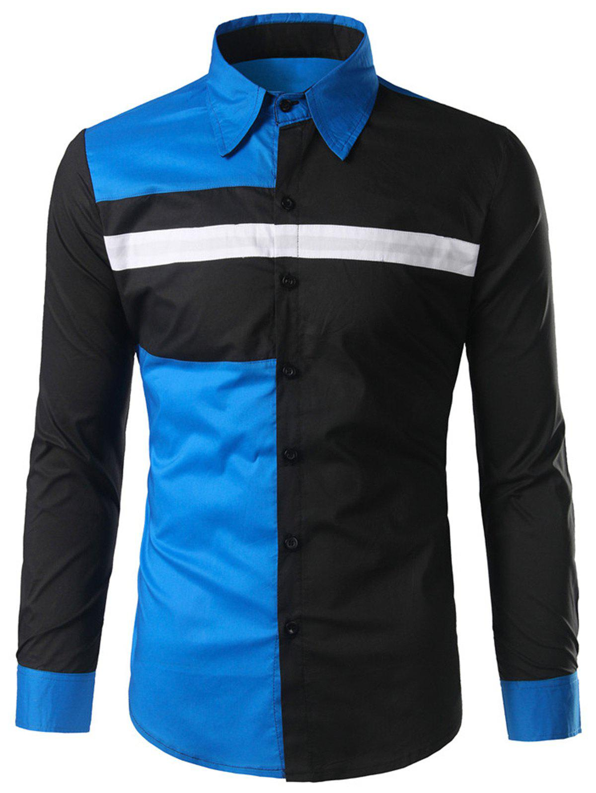Button Color Block Long Sleeve Shirt