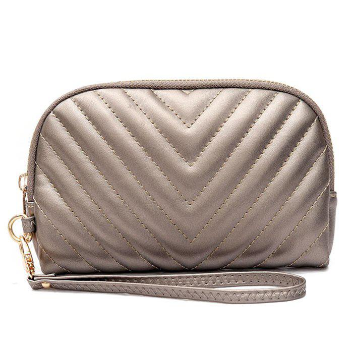 Faux Leather Quilted Zipper Clutch Bag - CHAMPAGNE