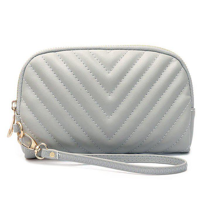 Faux Leather Quilt Zipper Clutch Bag - Gris