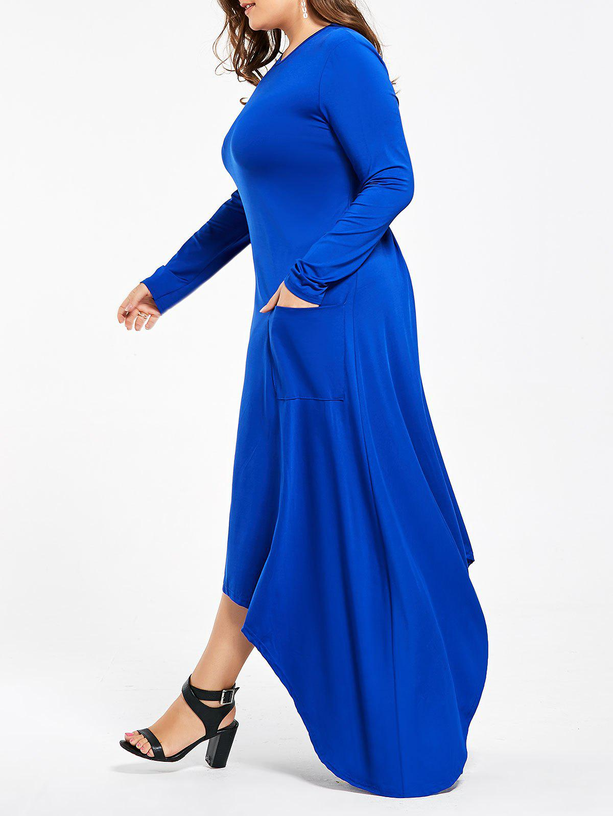 Plus Size Maxi Long Sleeve Asymmetric Dress with Pockets plus size pockets design maxi baggy dress