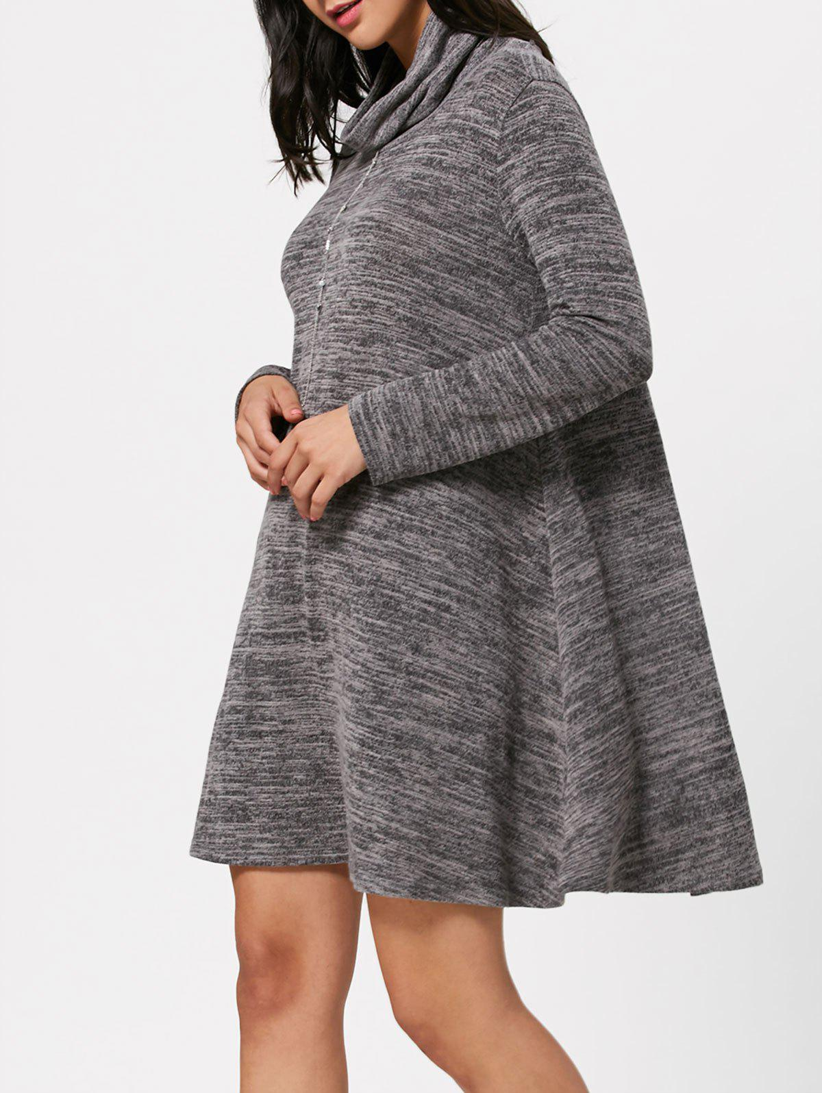 High Neck Long Sleeve Knit Tunic Dress - GRAY L