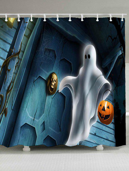 Halloween Ghost Pumpkin Lamp Bath Curtain - COLORMIX W59 INCH * L71 INCH
