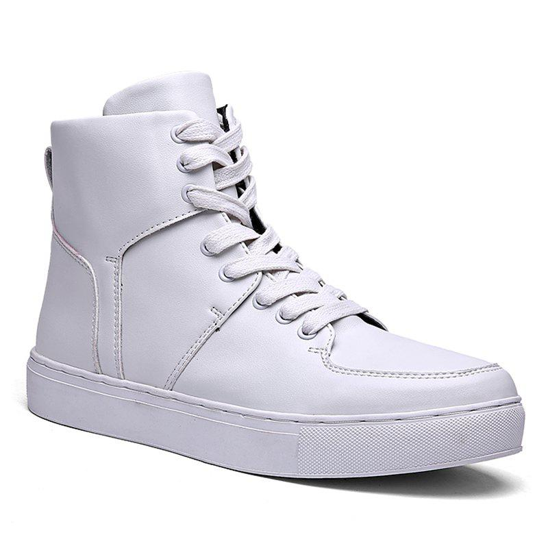 Round Toe High-top Sneakers - WHITE 40