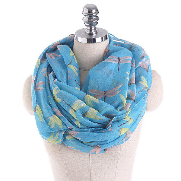 Multicolor Dragonfly Pattern Infinity Scarf - LAKE BLUE