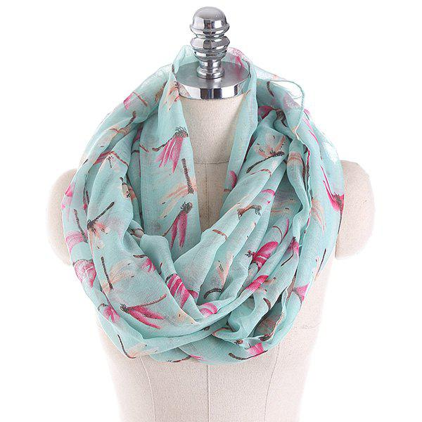 Multicolor Dragonfly Pattern Infinity Scarf - LIGHT GREEN