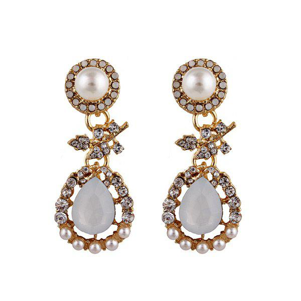 Faux Pearl Rhinestone Leaves Teardrop Earrings