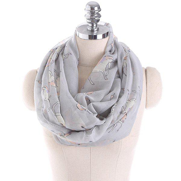 Horse Printed Infinity Wrap Scarf - GRAY