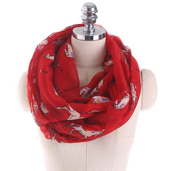 Horse Printed Infinity Wrap Scarf - RED