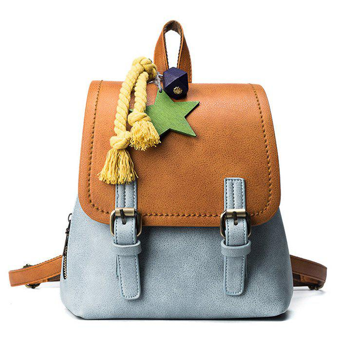 Double Buckle Strap PU Leather Backpack - BLUE / BROWN