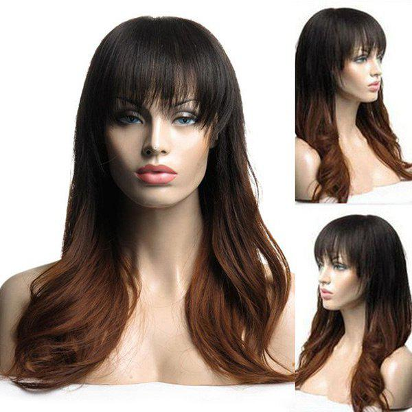Long Neat Bang Colormix Slightly Curly Synthetic Wig  adiors long neat bang instant noodles curly colormix synthetic wig