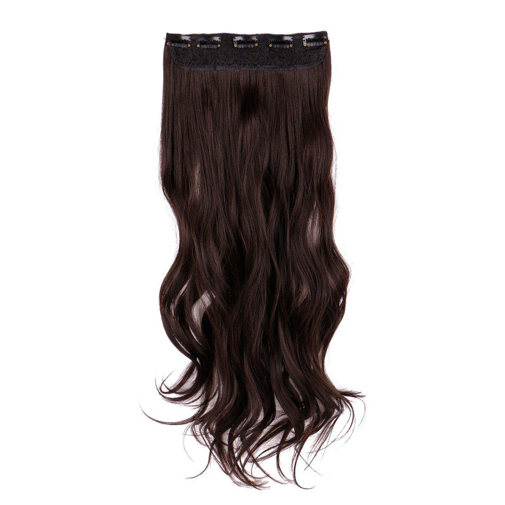 Long Slightly Curly Clip In Hair Piece - BROWN