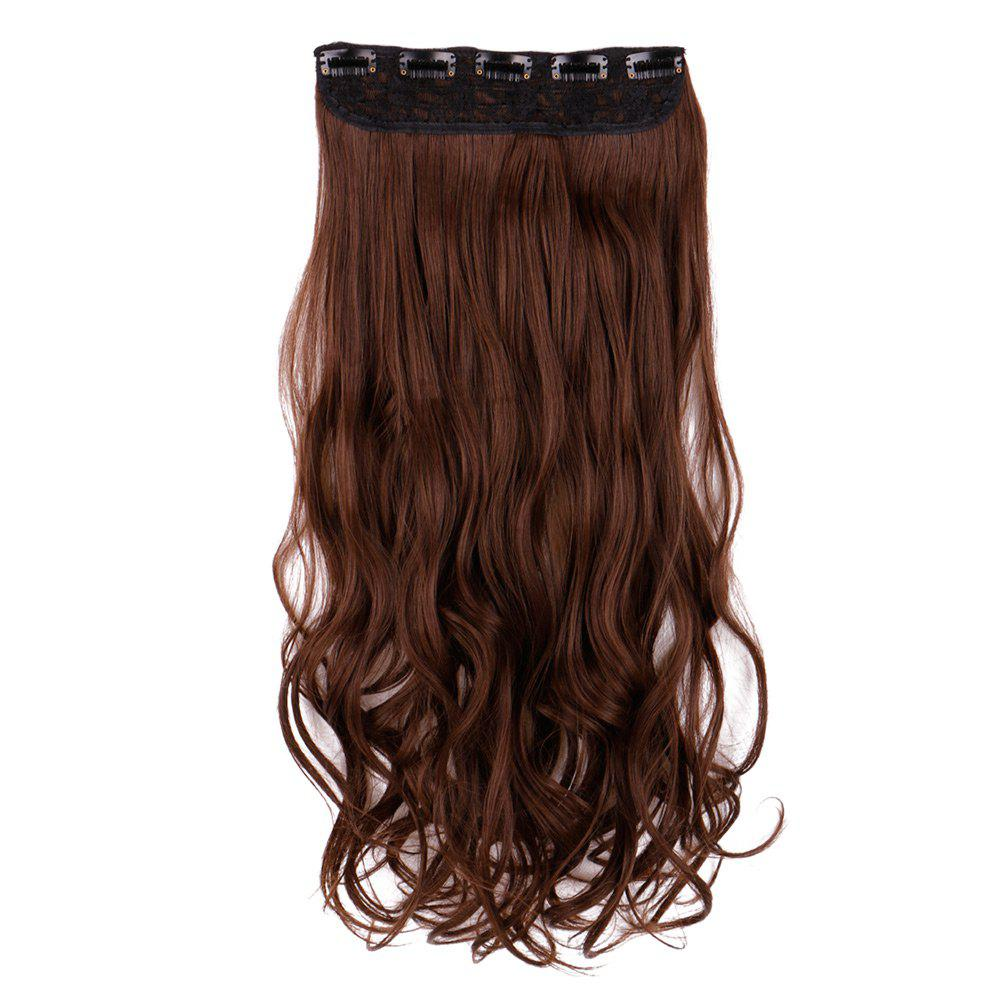 Long Wavy Heat Resistant Fiber Clip In Hair Extension - BROWN 60CM