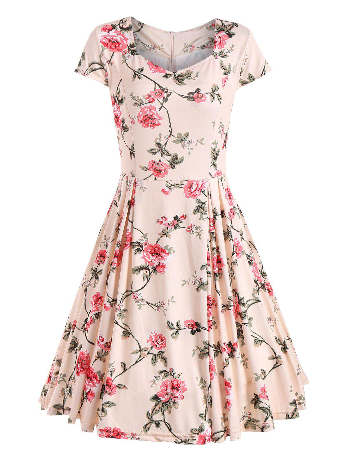 Cap Sleeve Floral Print Vintage Dress - APRICOT 2XL