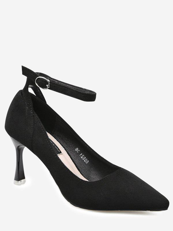 Mid Heel Pointed Toe Ankle Strap Pumps - BLACK 38