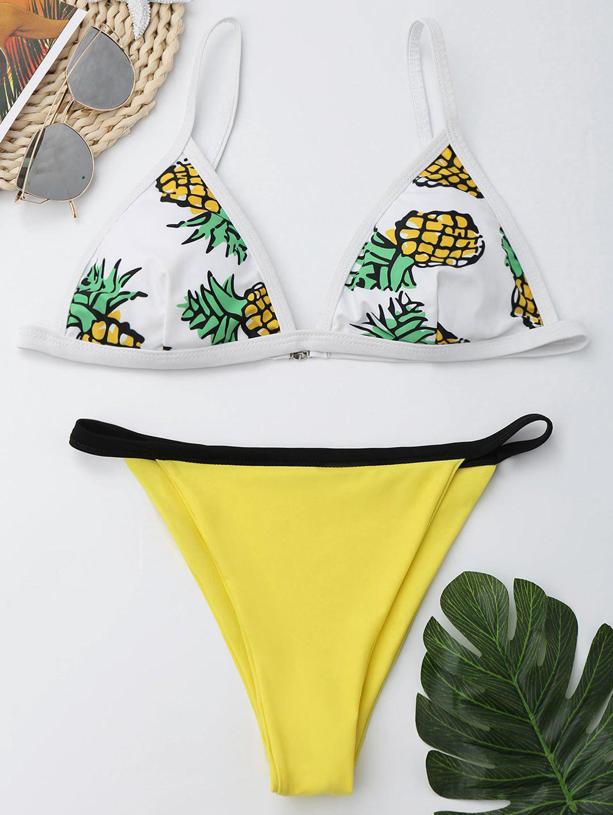 Pineapple Print Cami Cheeky Bikini Set pineapple print smock cami dress