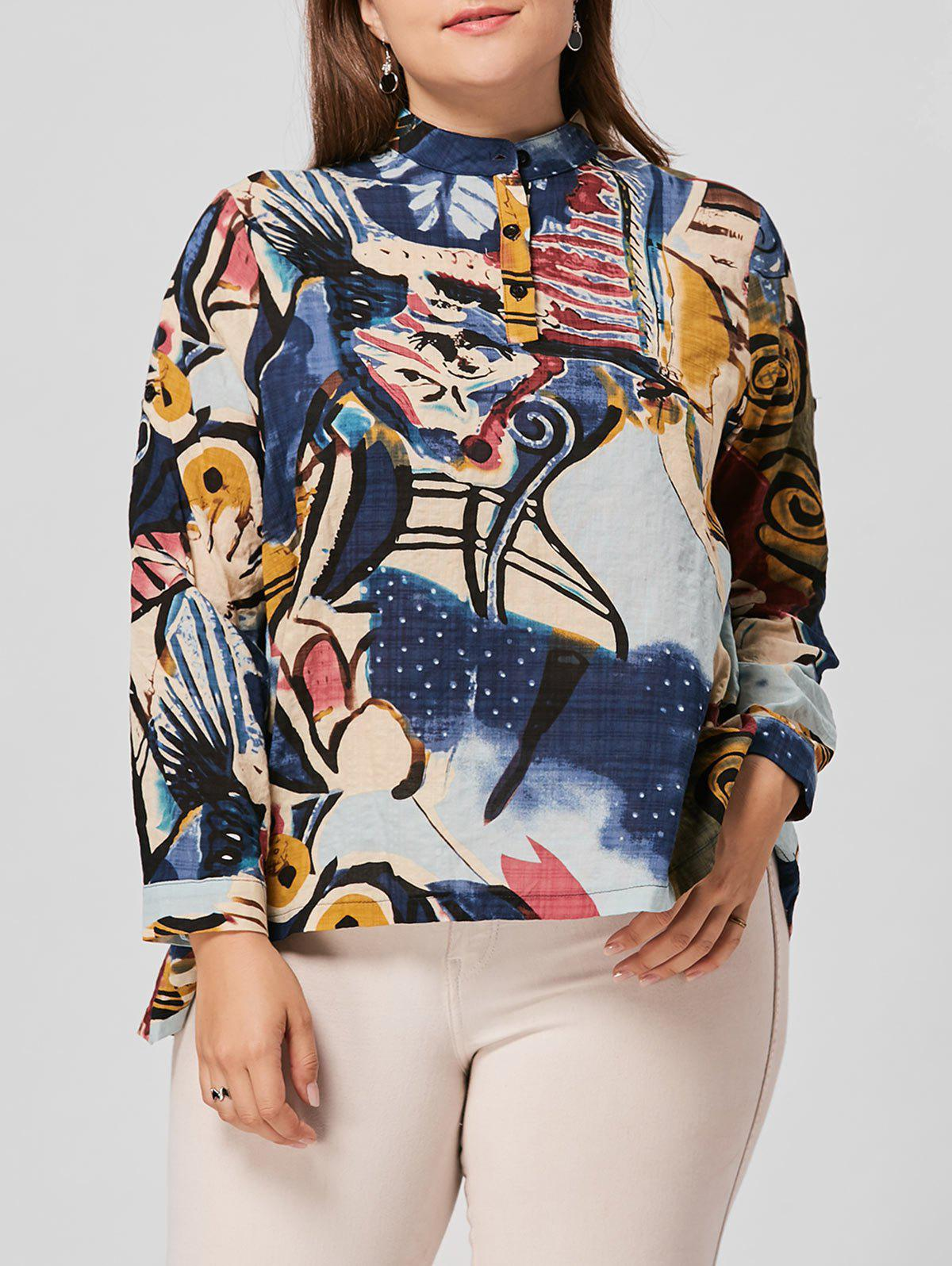 Plus Size Floral Print High Low Blouse - multicolorCOLOR 5XL