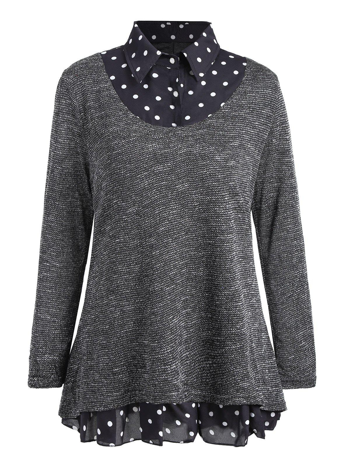 Plus Size Polka Dot Overlay Knit Top inc international concepts plus size bootcut pull on ponte knit pants