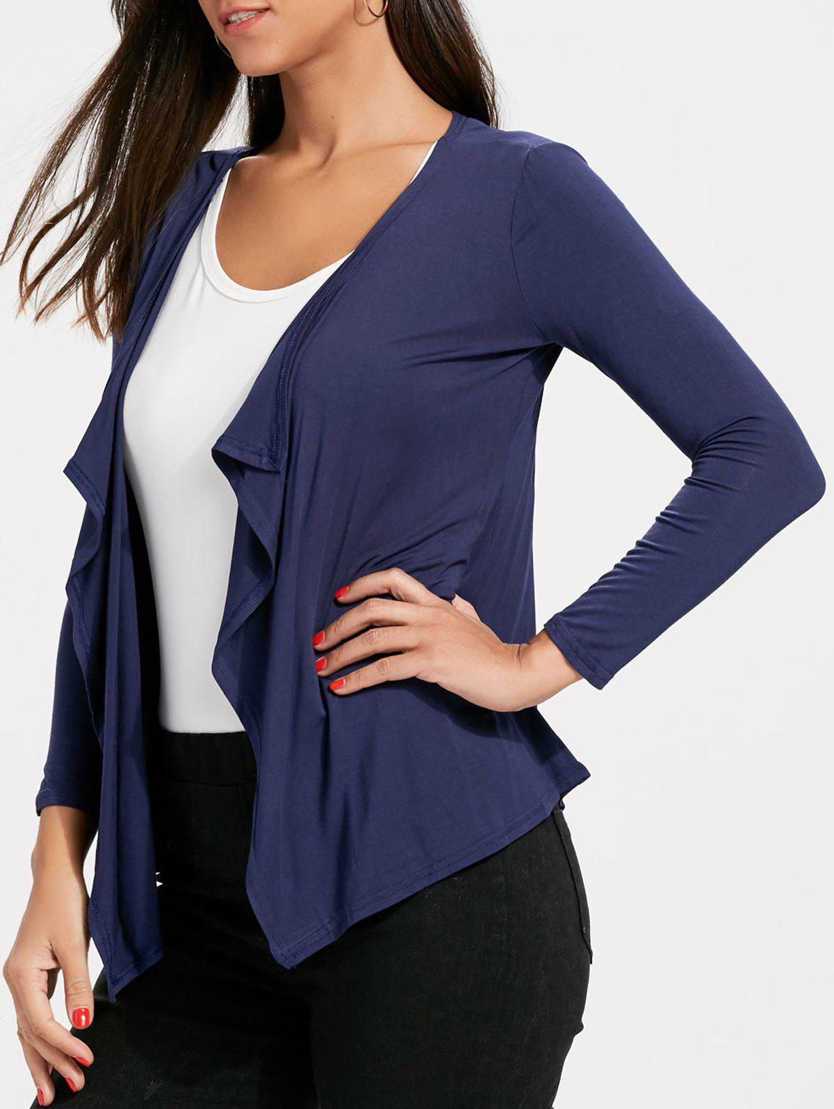 Draped Open Front Cardigan plain draped open front coat