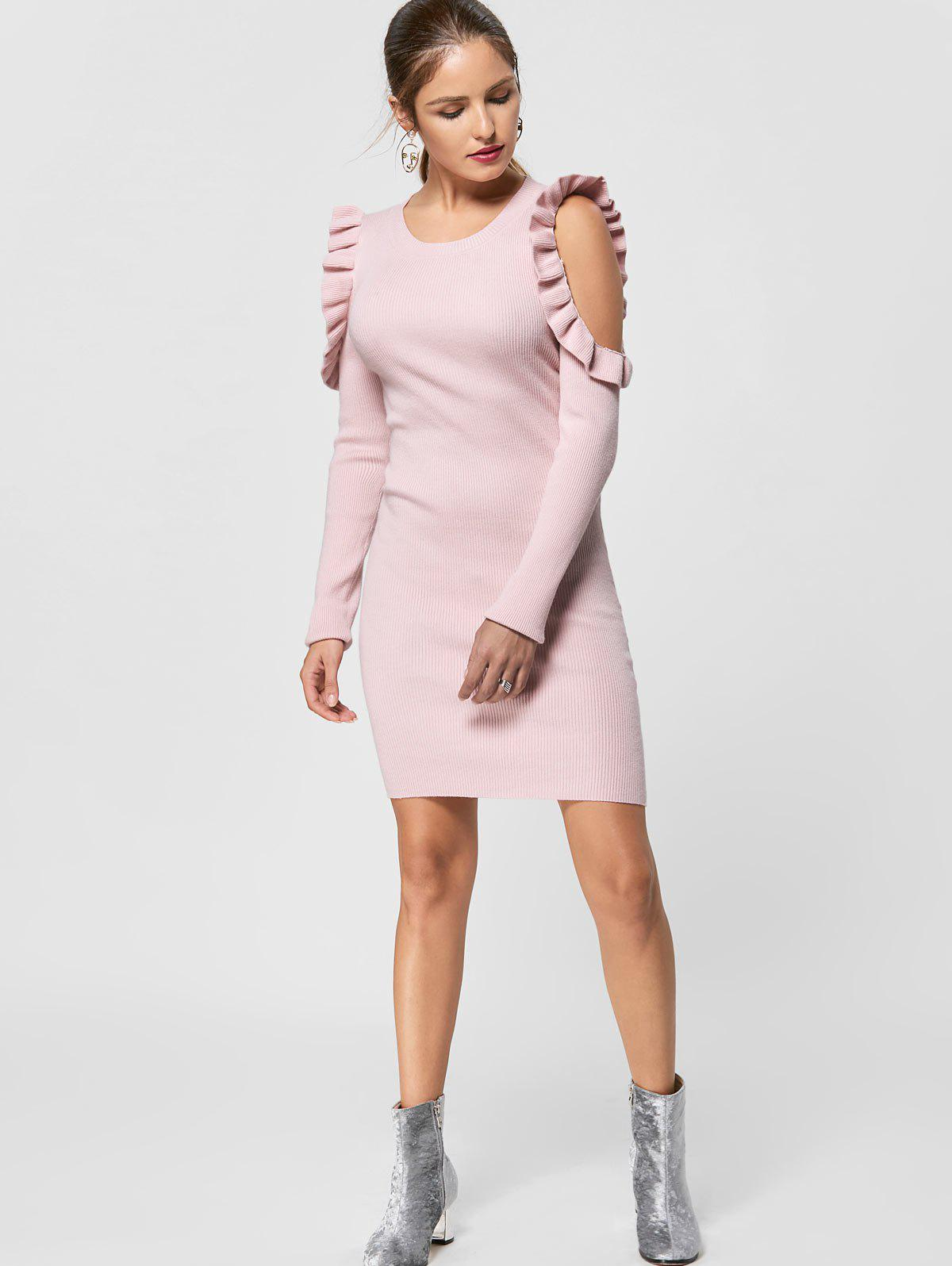 Ruffle Trim Cold Shoulder Jumper Dress - LIGHT PINK S